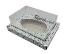 Caixa para Ovos de Colher 350g Branco com Poás Azuis - Linha Colors