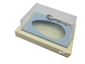 Caixa para Ovos de Colher 350g Marfim / Azul Claro
