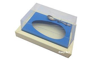 Caixa para Ovos de Colher 350g Marfim / Azul Turquesa