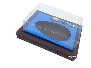 Caixa para Ovos de Colher 350g Marrom / Azul Turquesa