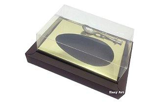 Caixa para Ovos de Colher 350g Marrom / Dourado