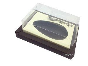 Caixa para Ovos de Colher 350g Marrom / Marfim