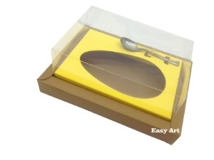 Caixa para Ovos de Colher 350g Marrom Claro / Amarelo