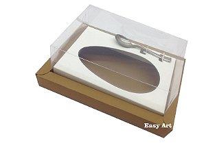 Caixa para Ovos de Colher 350g Marrom Claro / Branco