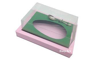 Caixa para Ovos de Colher 350g Rosa Claro / Verde Bandeira