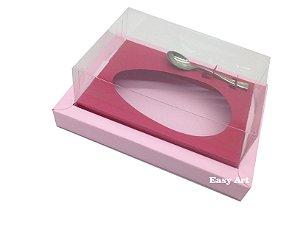 Caixa para Ovos de Colher 350g Rosa Claro / Vermelho