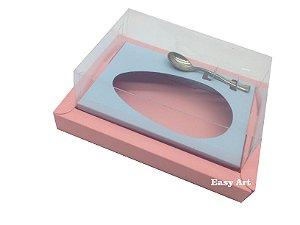 Caixa para Ovos de Colher 350g Salmão / Azul Claro