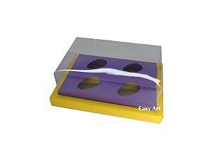 Caixa para Ovos de Colher 4X 50g / Amarelo - Lilás