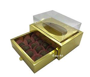 Caixa Ovo de Colher 250g - Gaveta para 12 Bombons / Dourado Brilhante