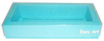 Caixa para 12 Brigadeiros / Tampa Transparente - Azul Tiffany