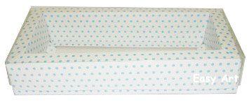Caixa para 12 Brigadeiros / Tampa Transparente - Branco com Poás Azuis