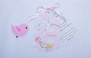 Convite Gaiola Passarinho - Chá de bebê / Aniversário - Menina Pct 10 Unid.