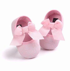 Lindo Sapatinho Bebês - Tecido - Lese - Batizado / Tam. 2