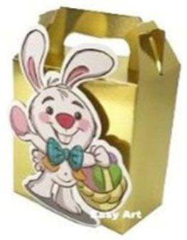 Caixa Maleta Coelho Feliz - Dourado Brilhante