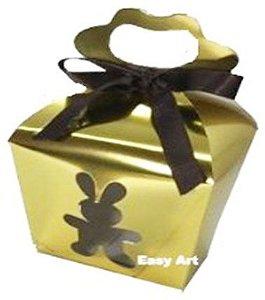 Caixa Maleta Coelho Vazado - Dourado Brilhante