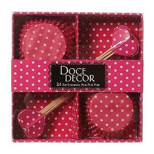 Kit Forminha Pick Poá - Cupcake Padrão - 7x2,5 - Pink