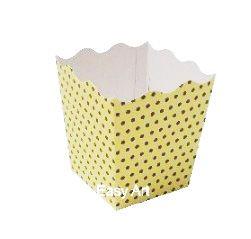 Cachepô / Caixa para Pipoca - Amarelo com Poás Marrom