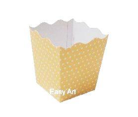 Cachepô / Caixa para Pipoca - Amarelo com Poás Brancas