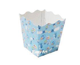 Cachepô / Caixa para Pipoca - Estampado Bebê Azul