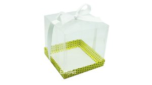 Caixinha para Mini Bolos - Amarelo com Poás Marrom