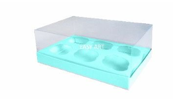 Caixas para 6 Mini Cupcakes - Azul Tiffany