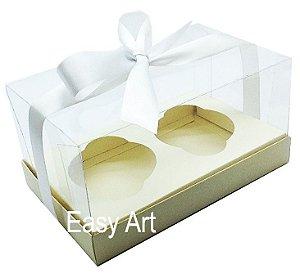 Caixas para 02 Cupcakes - Marfim