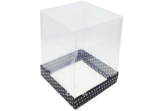 Caixa para Mini Bolos / Mini Panetone - Preto com Poás Brancas