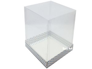 Caixa para Mini Bolo - Branco com Poás Azuis