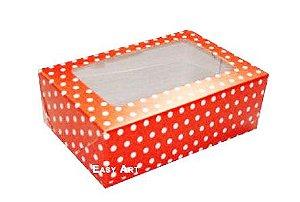DUPLICADO - Caixas para 3 Brigadeiros - Vermelho com Poás Brancas