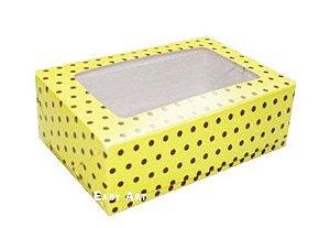 Caixas para 2 Bem Casados - Amarelo com Poás Marrom