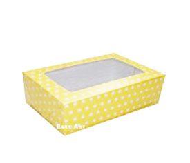 Caixas para 3 Brigadeiros - Amarelo com Poás Brancas