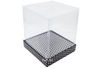 Caixinhas para Mini Bolos / Mini Panetones com Berço - Preto com Poás Brancas