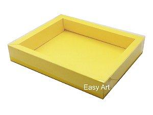 Caixa para 20 Brigadeiros / Tampa Transparente - Amarelo