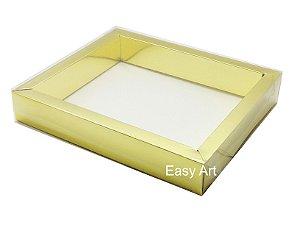 Caixa para 20 Brigadeiros / Tampa Transparente - Dourado Brilhante