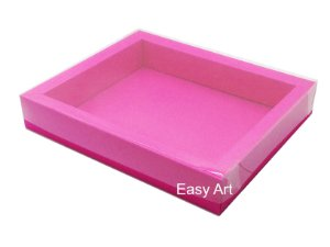 Caixa para 20 Brigadeiros / Tampa Transparente - Pink