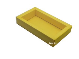 Caixa para 8 Macarons Deitados / Tampa Transparente - Amarelo