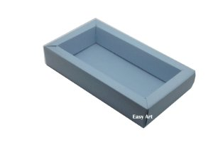 Caixa para 8 Macarons Deitados / Tampa Transparente - Azul Claro
