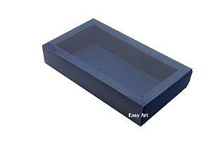 Caixa para 8 Macarons Deitados / Tampa Transparente - Azul Marinho