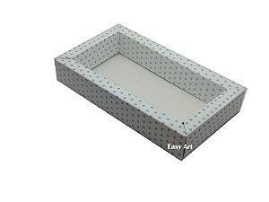 Caixa para 8 Macarons Deitados / Tampa Transparente - Branco com Poás Azuis