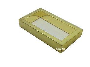 Caixa para 8 Macarons deitados / Tampa Transparente - Dourado