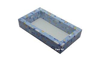 Caixa para 8 Macarons Deitados / Tampa Transparente - Estampado Bebê Azul