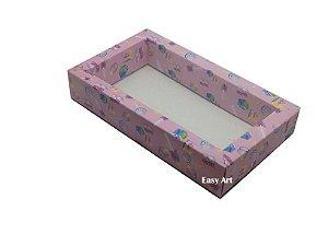 Caixa para 8 Macarons Deitados / Tampa Transparente - Estampado Bebê Rosa