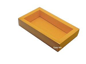Caixa para 8 Macarons Deitados / Tampa Transparente - Laranja Claro