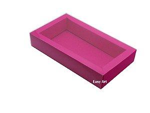 Caixa para 8 Macarons Deitados / Tampa Transparente - Pink