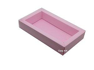 Caixa para 8 Macarons Deitados / Tampa Transparente - Rosa Claro
