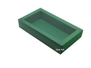 Caixa para 8 Macarons Deitados / Tampa Transparente - Verde Bandeira