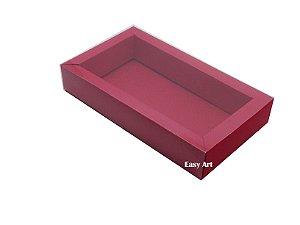 Caixa para 8 Macarons Deitados / Tampa Transparente - Vermelho