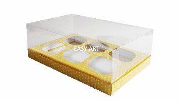 Caixas para 6 Mini Cupcakes - Amarelo com Poás Brancas