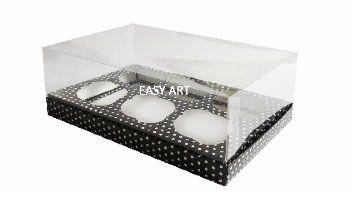 Caixas para 6 Mini Cupcakes - Preto com Poás Brancas