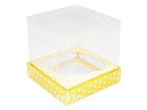 Caixas para 1 Mini Cupcake - Amarelo com Poás Brancas